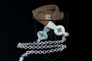 Female girdle with chain, mounts (silvered&green enamel) and acorn pendant
